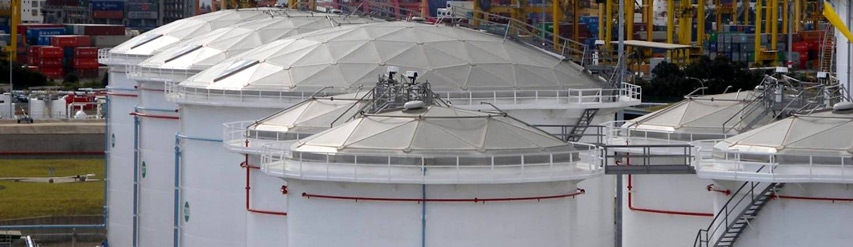 Geodesic domes for storage tanks terminals and refineries